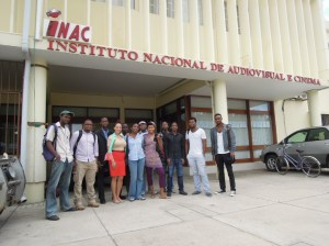Jacqueline Cofield in Maputo, Mozambique, with members of the Association of Mozambican Filmmakers.