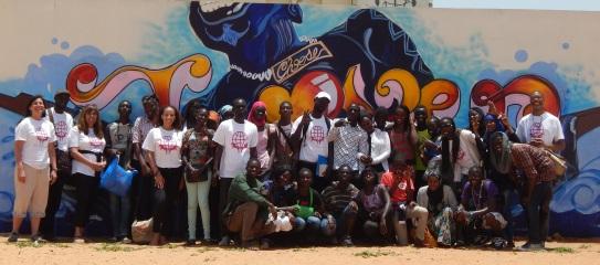 "J Rêve Global Educator participants visit Dakar ""Choose Love""J Rêve mural with Blaise Diange High School students"